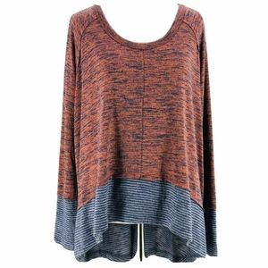 We The Free By Free People Rust Blue Knit Top